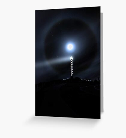 Moon Halo Over Bunbury lighthouse  Greeting Card