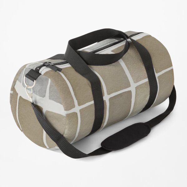 Soothing Hand Painted Neutral Watercolor Windowpane Rectangles Desert Brown Gray Duffle Bag