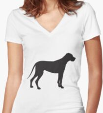 Great Dane Silhouette Women's Fitted V-Neck T-Shirt