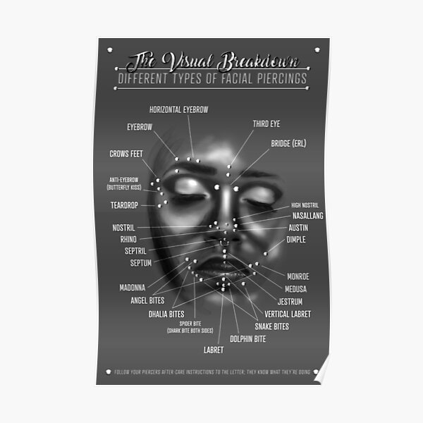 Face Piercing Chart, Black and White Poster