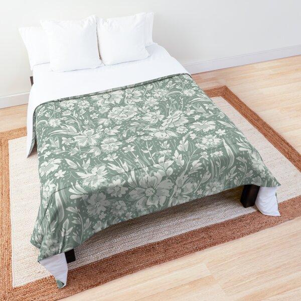 Green Floral Comforter