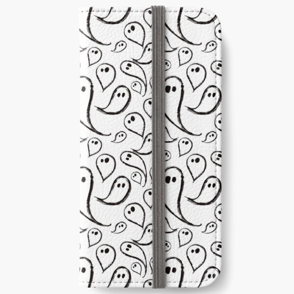 Cute Ghosts on White iPhone Wallet