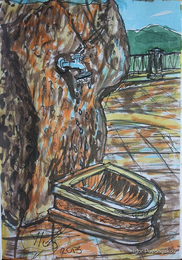 Watercolor Sketch - Water from the Stone. Randazzo, Sicily 2013 by Igor Pozdnyakov