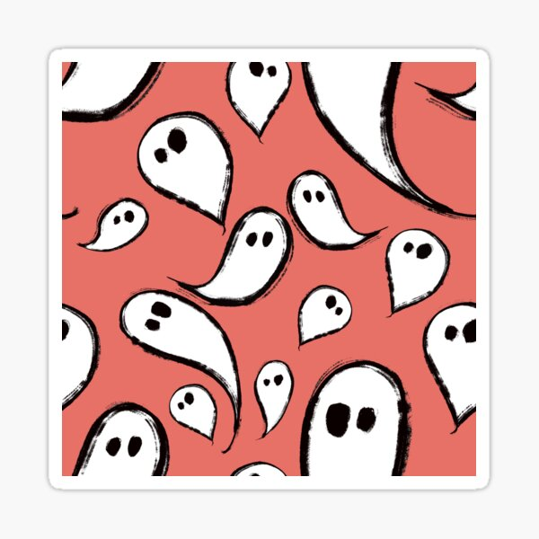Cute Ghosts on Red Sticker