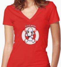 Bedlington Terrier :: First Mate Women's Fitted V-Neck T-Shirt