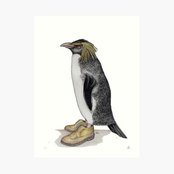 Penguin in gold wingtips Art Print
