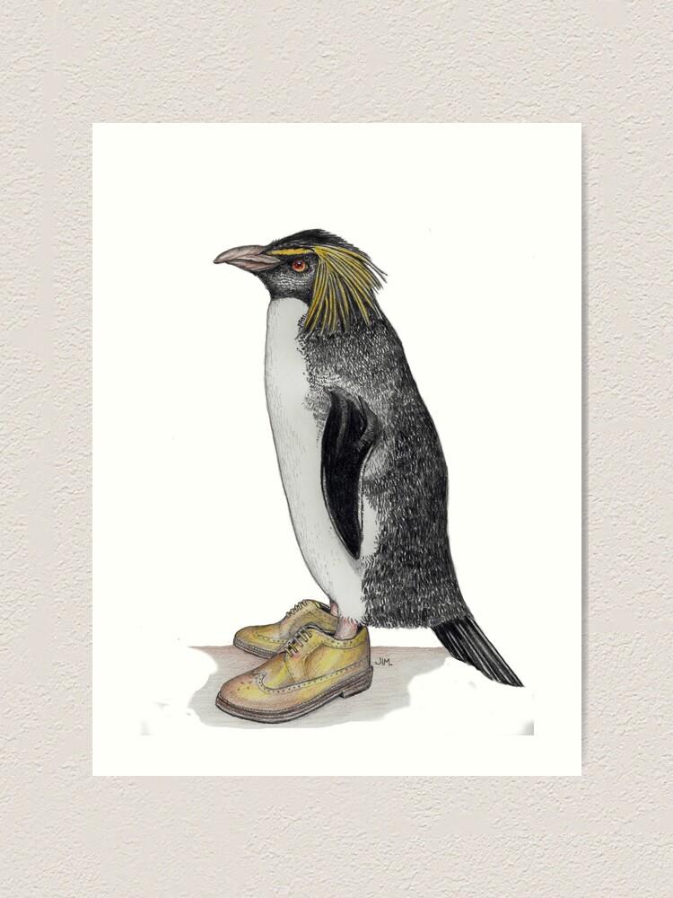 Alternate view of Penguin in gold wingtips Art Print