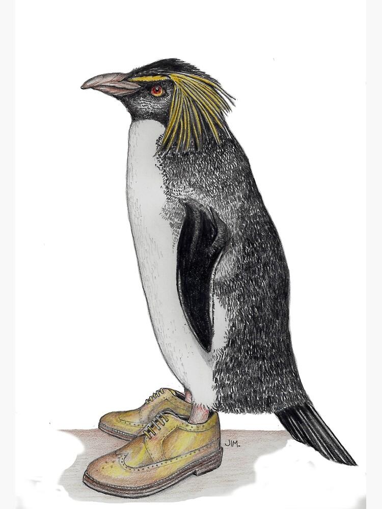 Penguin in gold wingtips by JimsBirds