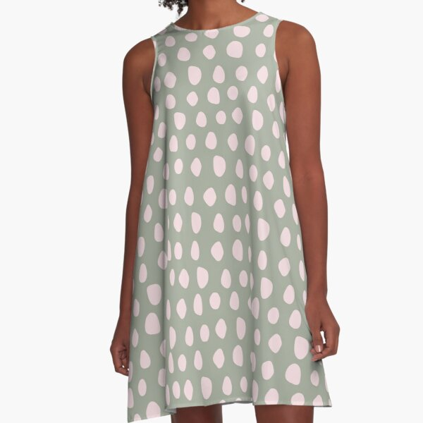 Pale Pink Stones on Sage Green | Pattern A-Line Dress