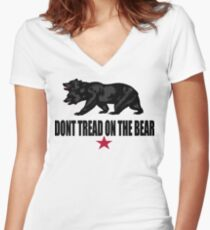 Don't Tread on the Bear Women's Fitted V-Neck T-Shirt
