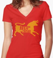 Ave, True to Caesar Women's Fitted V-Neck T-Shirt