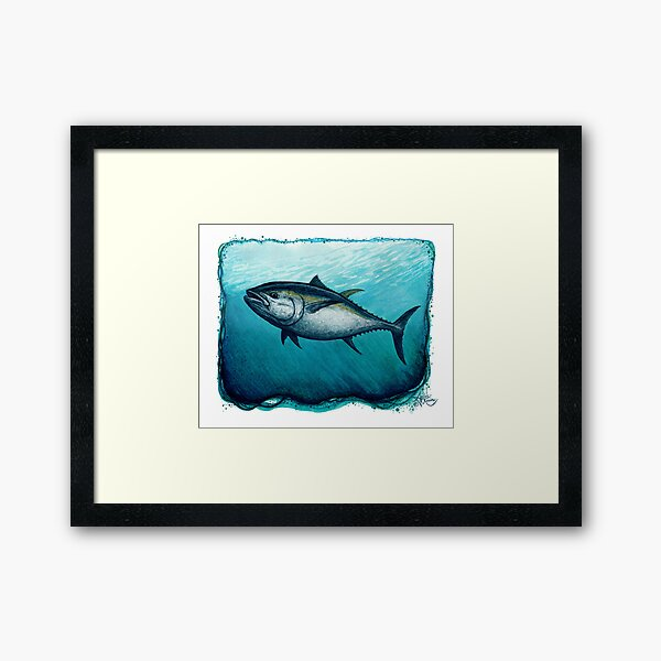 """""""Bluefin Tuna"""" by Amber Marine ~ Watercolor painting, art © 2016 Framed Art Print"""