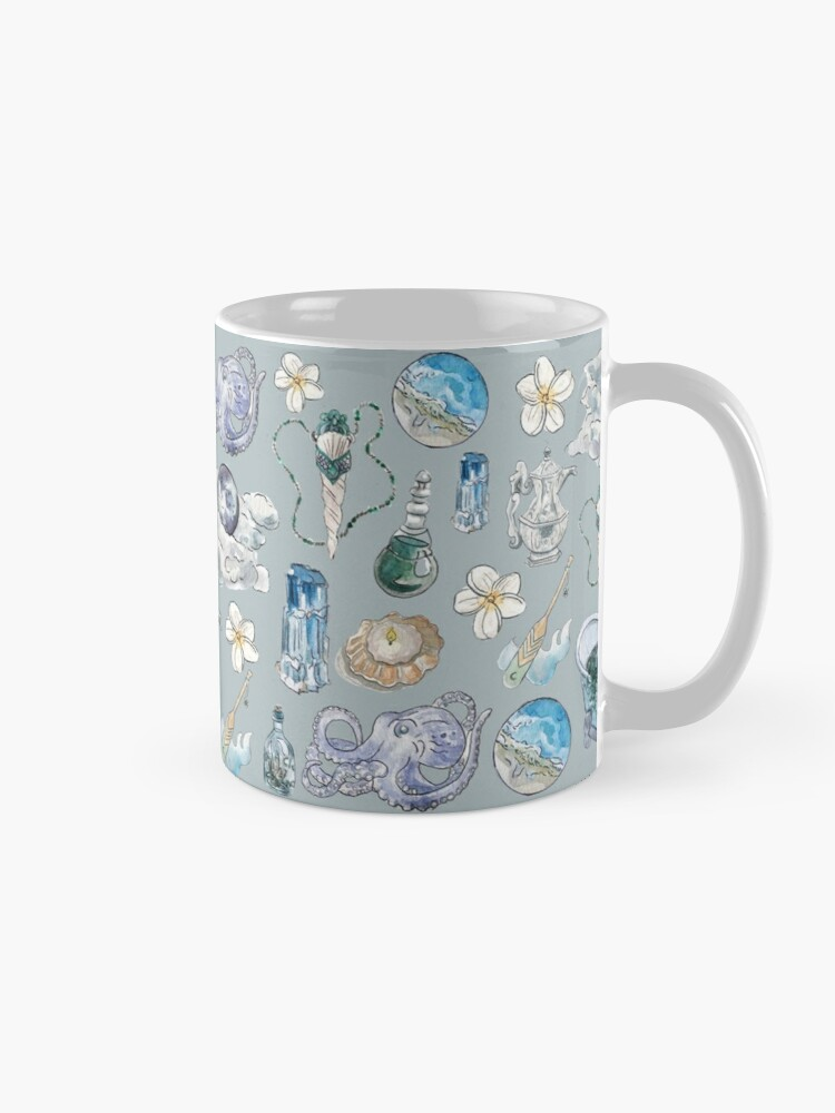 Alternate view of Sea Witch Pattern - Wrap Around with Grey Background Mug