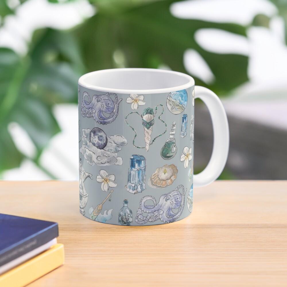 Sea Witch Pattern - Wrap Around with Grey Background Mug