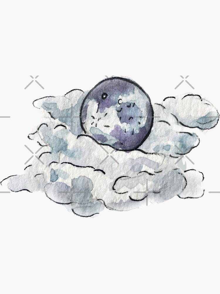 Full Moon Behind Clouds in Watercolor by WitchofWhimsy