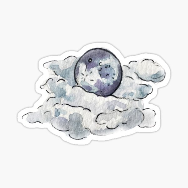 Full Moon Behind Clouds in Watercolor Sticker