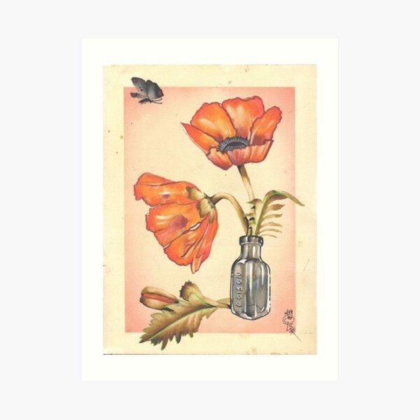 loose poppies in poison jar Art Print