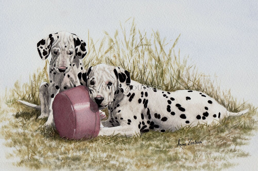A Spot of Lunch (Dalmatian Puppies) by Anne Zoutsos