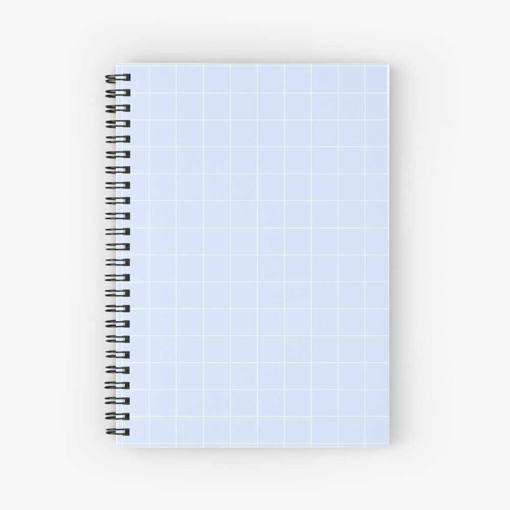 Powder Blue and White Grid Pattern Spiral Notebook