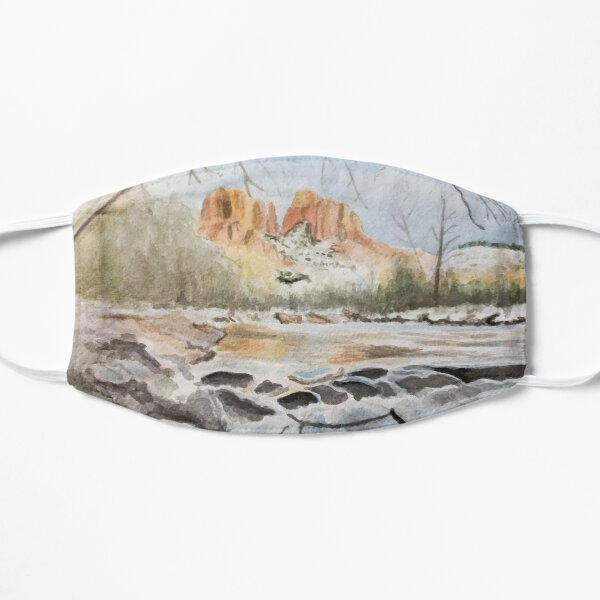 Sedona Cathedral Rock in the Winter Watercolor Flat Mask