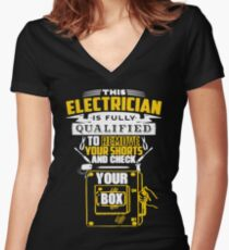 Electrician Women's Fitted V-Neck T-Shirt