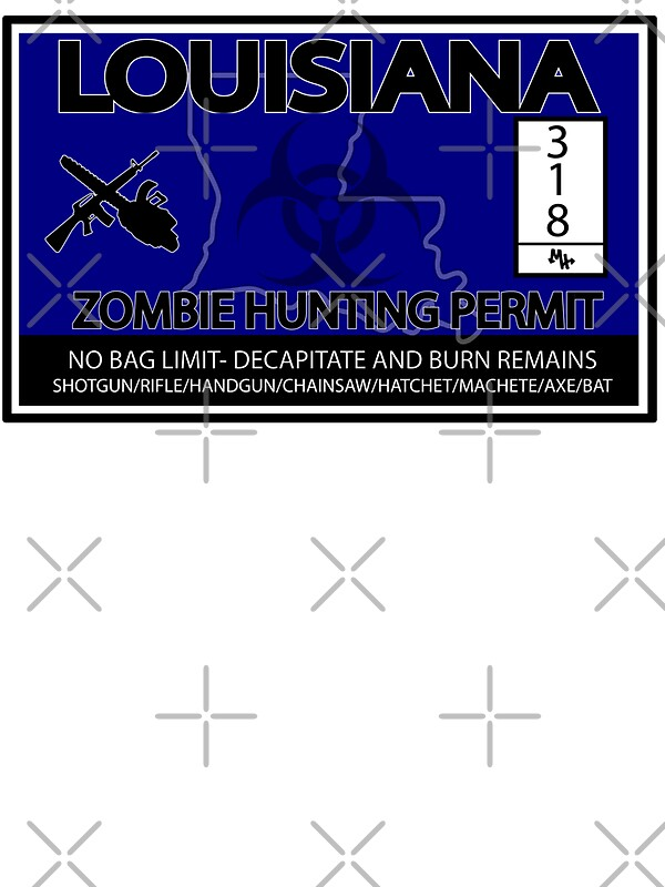 Louisiana zombie hunting license stickers by mookhustle for Fishing license in oklahoma
