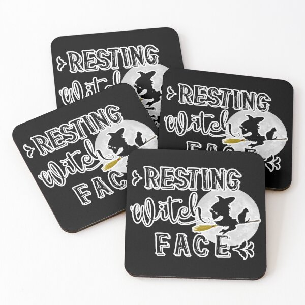 resting witch face Coasters (Set of 4)