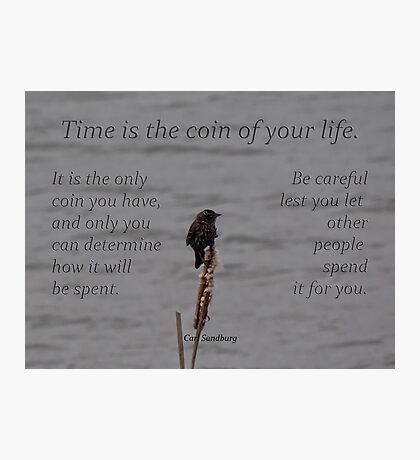 time is a coin-inspirational Photographic Print