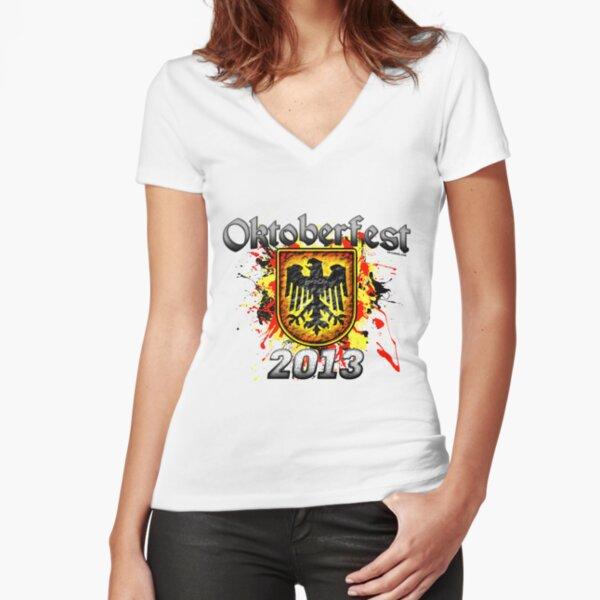 Oktoberfest Eagle Shield 2013 Fitted V-Neck T-Shirt