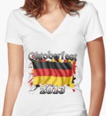 Oktoberfest German Flag 2013 Women's Fitted V-Neck T-Shirt
