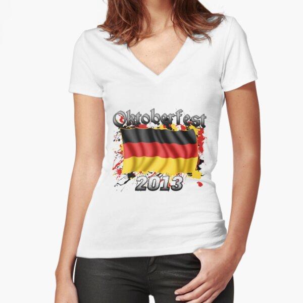 Oktoberfest German Flag 2013 Fitted V-Neck T-Shirt