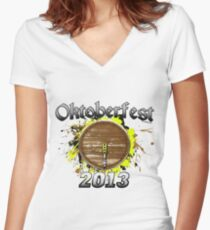 Oktoberfest Keg 2013 Women's Fitted V-Neck T-Shirt