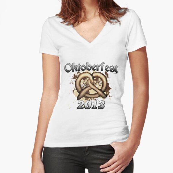 Oktoberfest Pretzel 2013 Fitted V-Neck T-Shirt