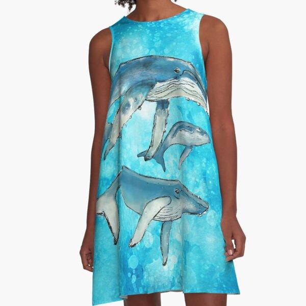Humpback whale family A-Line Dress