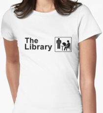 The Library Logo in black Women's Fitted T-Shirt