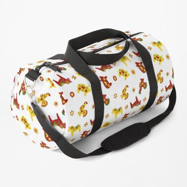 Folk Art - Swedish Dala Animal Farm Pattern - Red Yellow Green Duffle Bag
