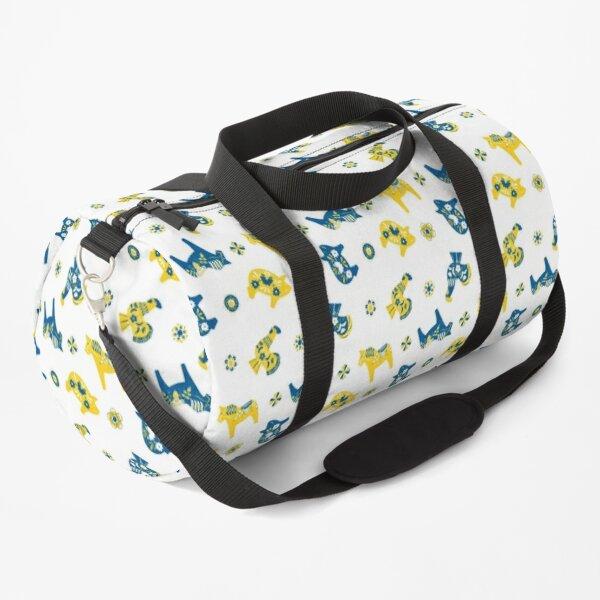 Folk Art - Swedish Dala Animal Farm Pattern - Blue Yellow Duffle Bag