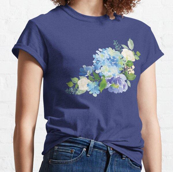Blue Watercolor Hydrangea Classic T-Shirt