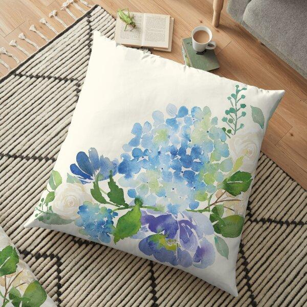 Blue Watercolor Hydrangea Floor Pillow