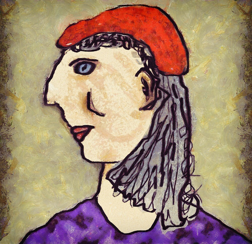 Lady in red hat by Albert