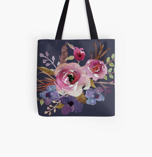 Burgundy Blue Watercolor Flower Bouquet All Over Print Tote Bag