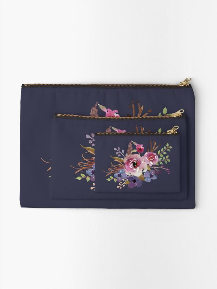 Alternate view of Burgundy Blue Watercolor Flower Bouquet Zipper Pouch