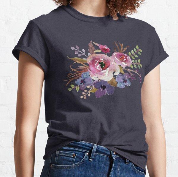 Burgundy Blue Watercolor Flower Bouquet Classic T-Shirt