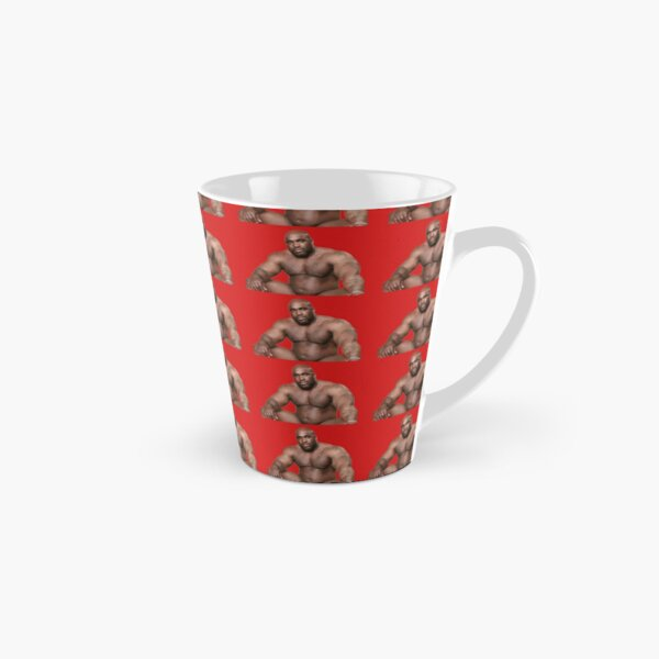 Barry Wood sitting on bed Red Background Tall Mug