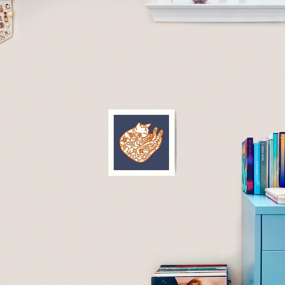 Sleeping Cat with Flowers Papercut Art Print