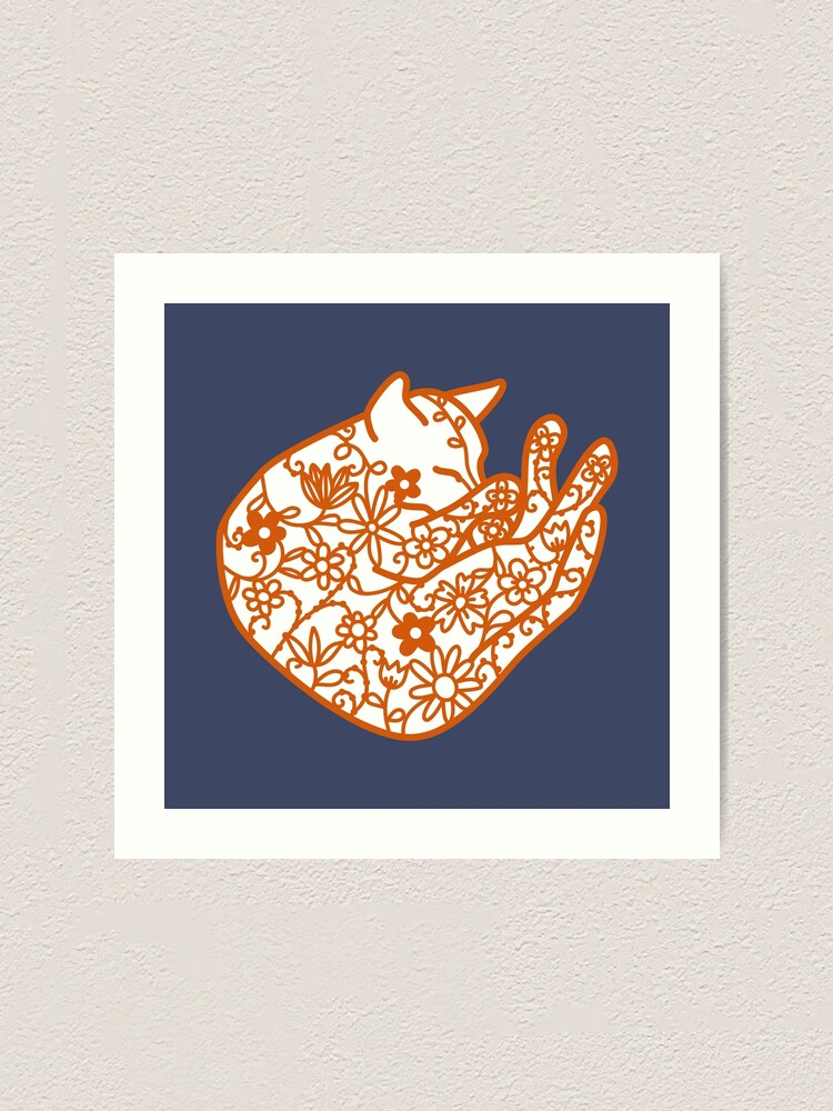 Alternate view of Sleeping Cat with Flowers Papercut Art Print