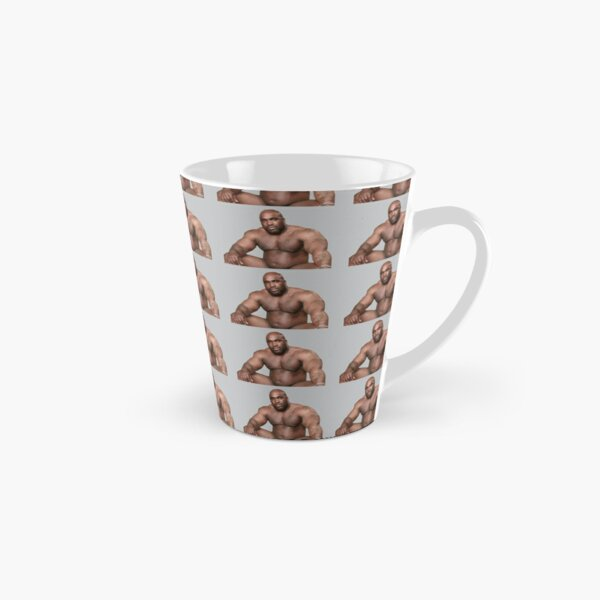 Barry Wood sitting on bed Cement Background Tall Mug