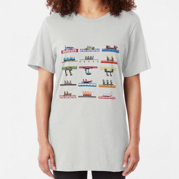 Cedar Point Coaster Cars Design Slim Fit T-Shirt