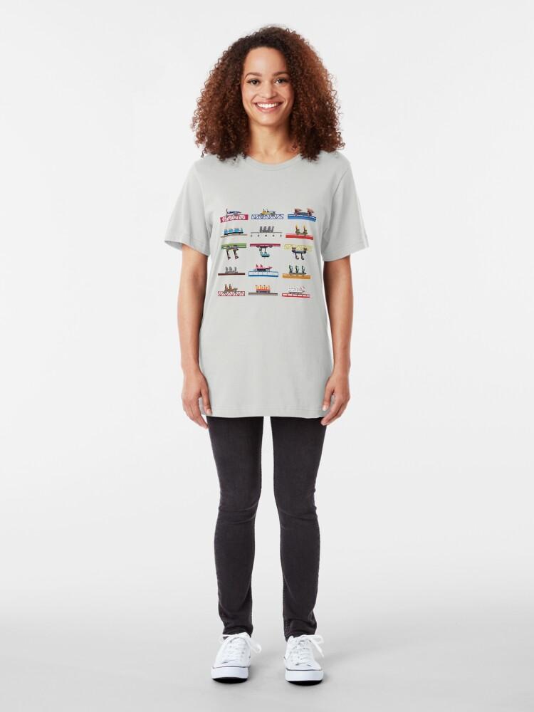 Alternate view of Cedar Point Coaster Cars Design Slim Fit T-Shirt