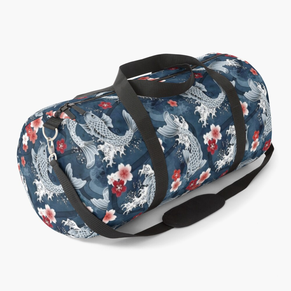 Koi sakura blossom in blue Duffle Bag